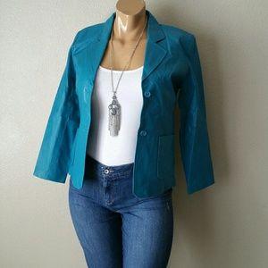 Metro Style Blue Leather Jacket